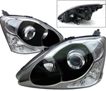 02-05 Honda Civic Si EP3 Projector Headlights Black (type rep)