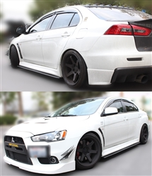 2008-2013 MITSUBISHI LANCER EVOLUTION EVO X 10 V2 SIDE SKIRT EXTENSIONS SPLITTERS DIFFUSERS - FRP